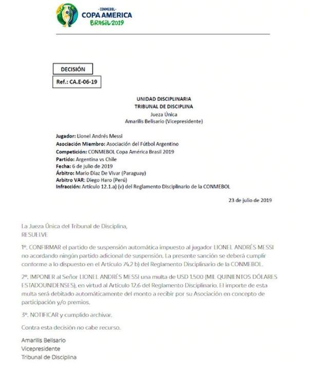 Μέσι: Μία αγωνιστική και πρόστιμο για την αποβολή κόντρα στη Χιλή